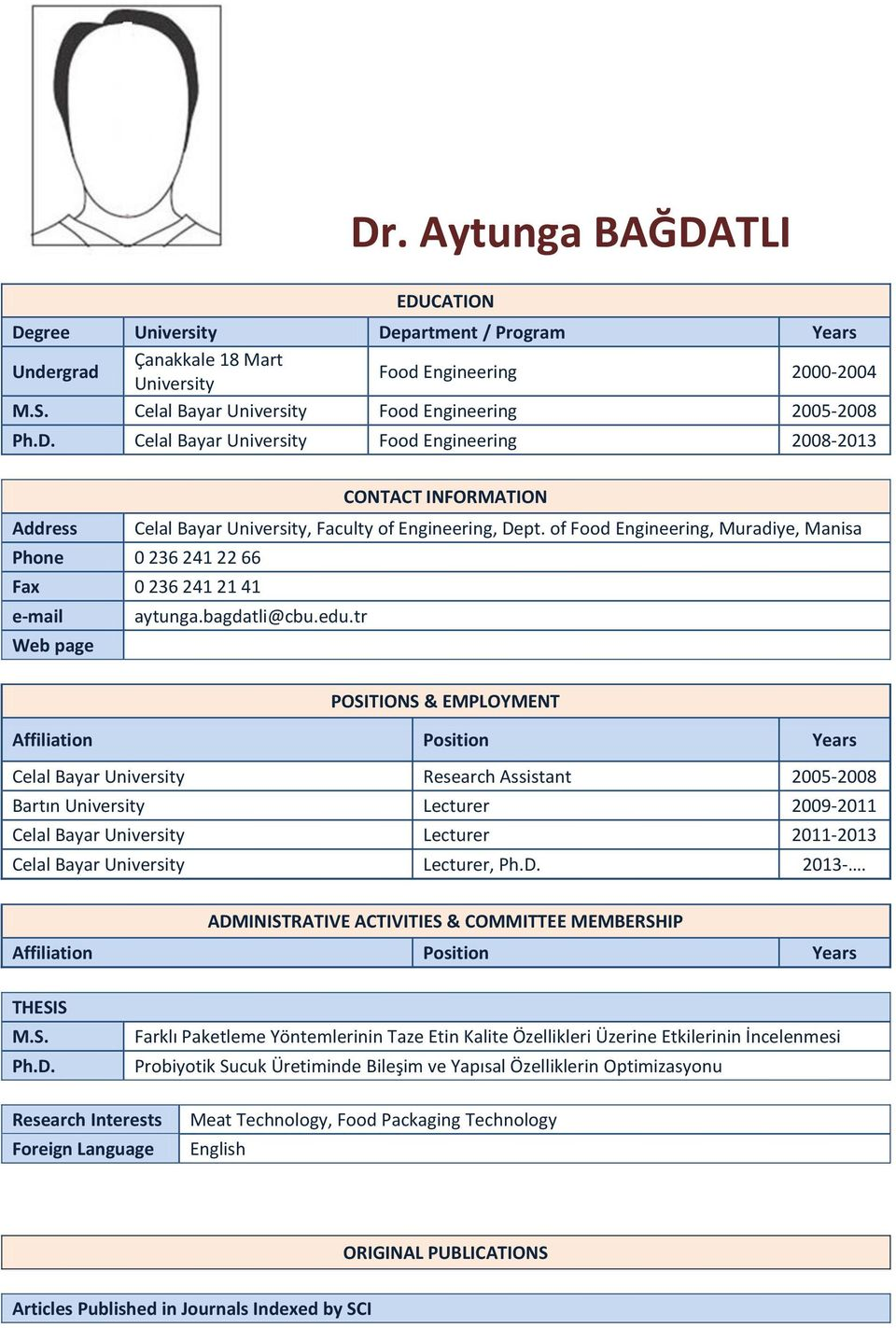 tr Web page POSITIONS & EMPLOYMENT Affiliation Position Celal Bayar University Research Assistant 00-00 Bartın University Lecturer 009-0 Celal Bayar University Lecturer 0-0 Celal Bayar University
