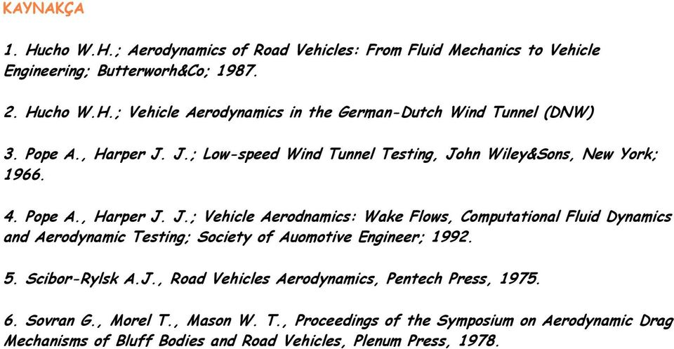 5. Scibor-Rylsk A.J., Road Vehicles Aerodynamics, Pentech Press, 1975. 6. Sovran G., Morel T.