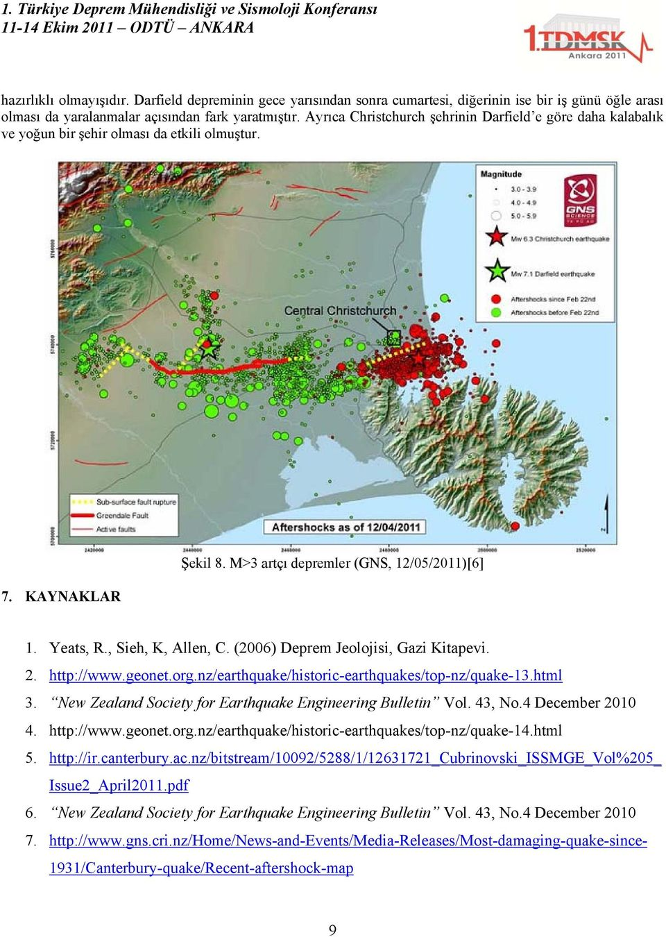 , Sieh, K, Allen, C. (2006) Deprem Jeolojisi, Gazi Kitapevi. 2. http://www.geonet.org.nz/earthquake/historic-earthquakes/top-nz/quake-13.html 3.