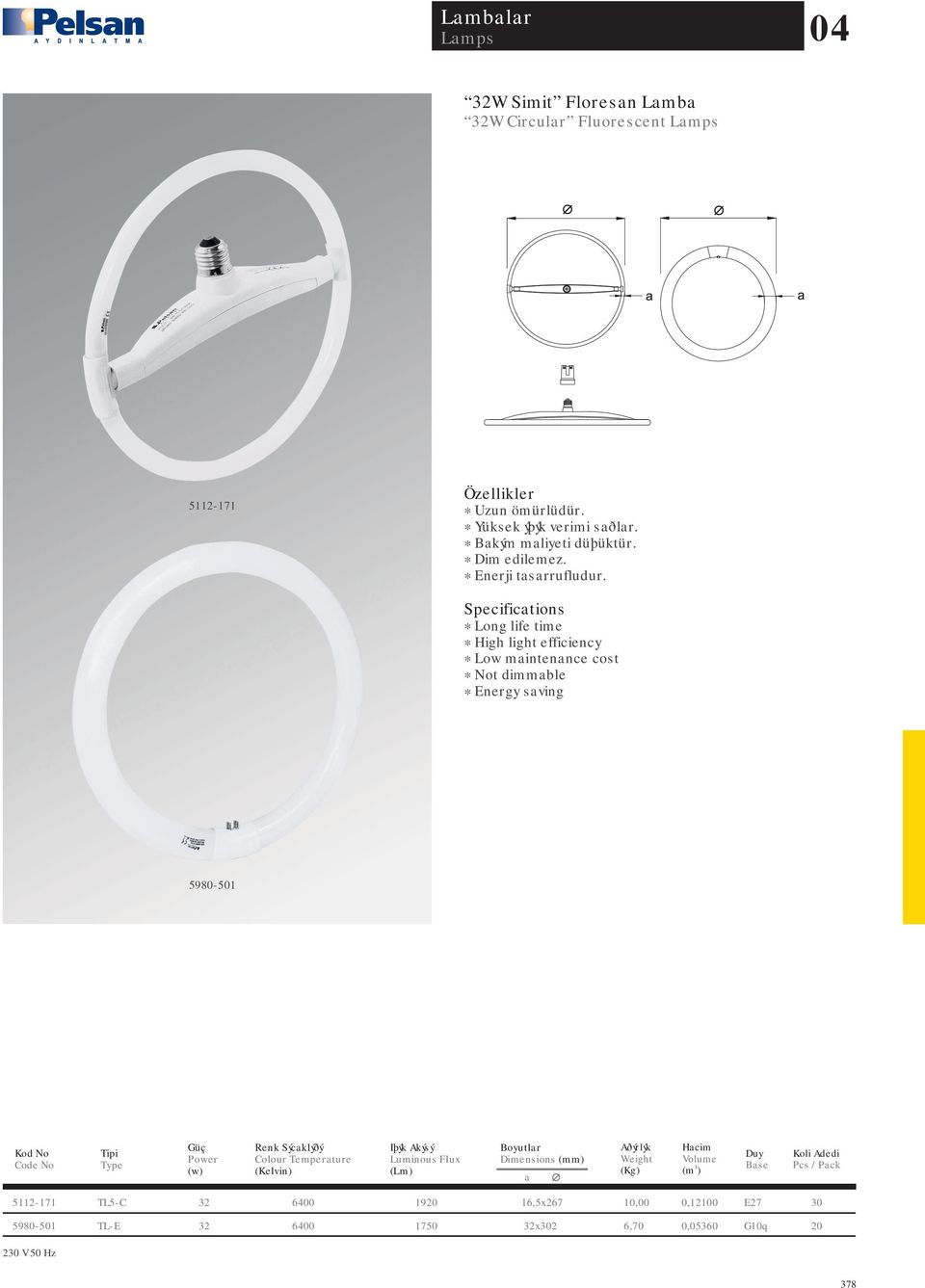 * High light efficiency * Low maintenance cost * Not dimmable * Energy saving 5980-1 a