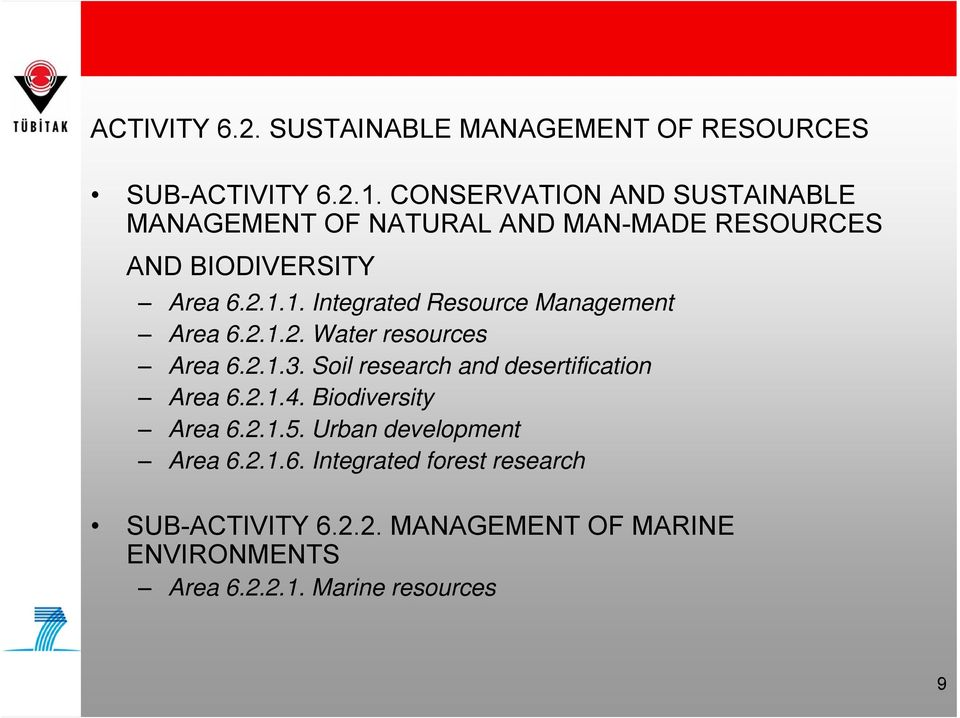 1. Integrated Resource Management Area 6.2.1.2. Water resources Area 6.2.1.3.