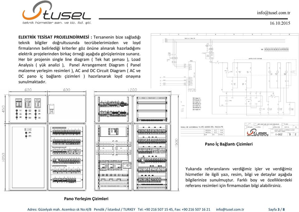Her bir projenin single line diagram ( Tek hat şeması ), Load Analysis ( yük analizi ), Panel Arrangement Diagram ( Panel malzeme yerleşim resimleri ), AC and DC Circuit Diagram ( AC ve DC pano iç