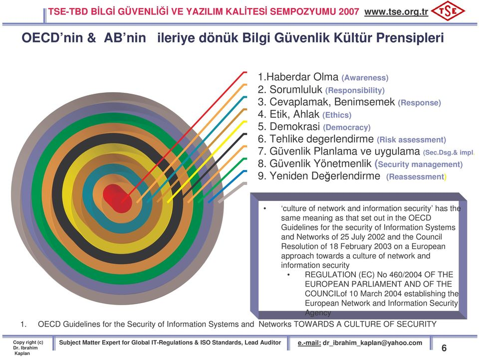 Yeniden Deerlendirme (Reassessment) culture of network and information security has the same meaning as that set out in the OECD Guidelines for the security of Information Systems and Networks of 25