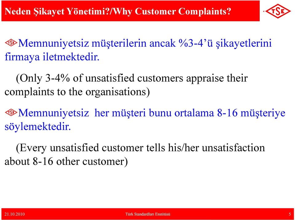 (Only 3-4% of unsatisfied customers appraise their complaints to the organisations) Memnuniyetsiz