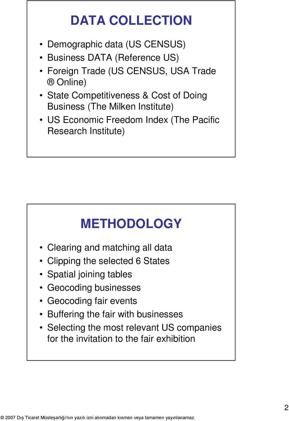 METHODOLOGY Clearing and matching all data Clipping the selected 6 States Spatial joining tables Geocoding businesses