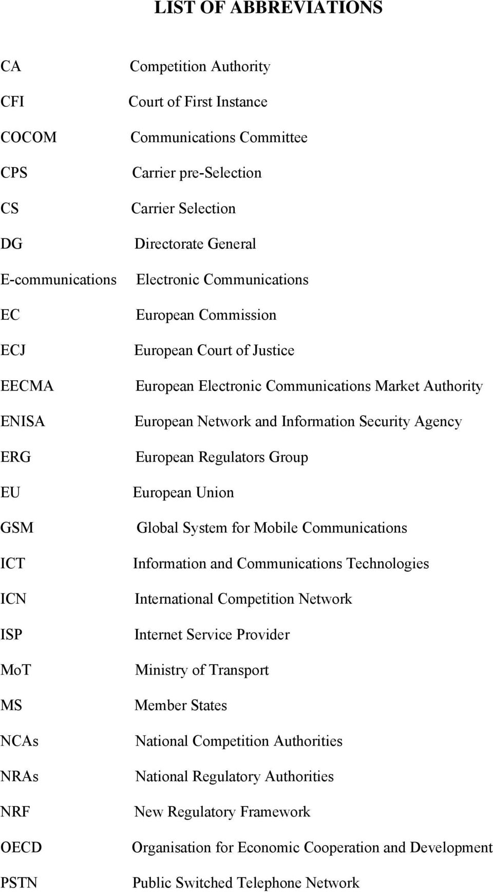 European Network and Information Security Agency European Regulators Group European Union Global System for Mobile Communications Information and Communications Technologies International Competition