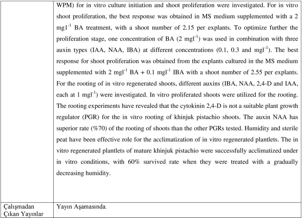 To optimize further the proliferation stage, one concentration of BA (2 mgl -1 ) was used in combination with three auxin types (IAA, NAA, IBA) at different concentrations (0.1, 0.3 and mgl -1 ).