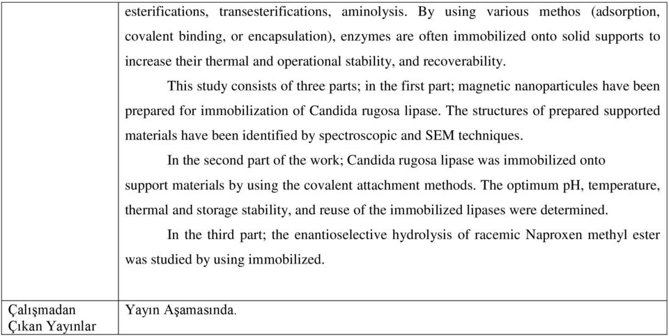 This study consists of three parts; in the first part; magnetic nanoparticules have been prepared for immobilization of Candida rugosa lipase.