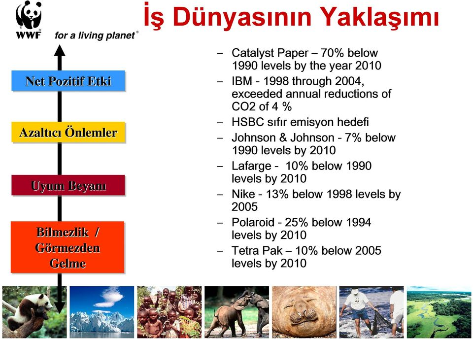 HSBC sıfır emisyon hedefi Johnson & Johnson - 7% below 1990 levels by 2010 Lafarge - 10% below 1990 levels by