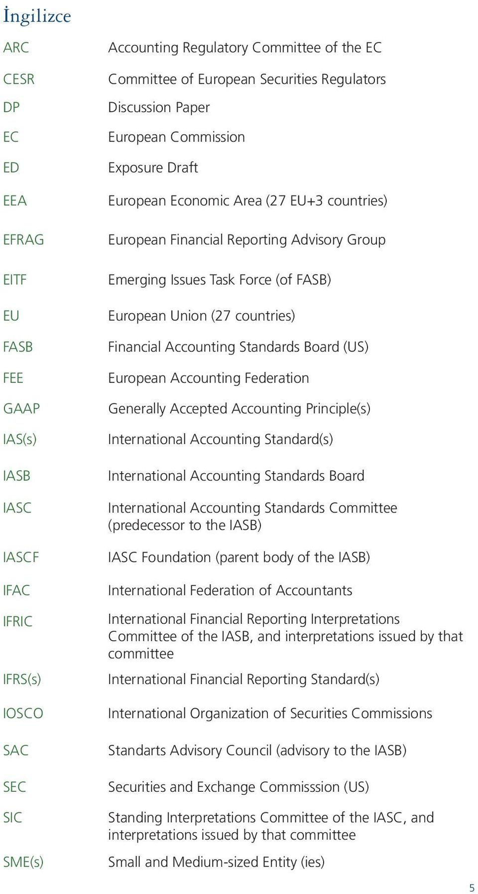 European Union (27 countries) Financial Accounting Standards Board (US) European Accounting Federation Generally Accepted Accounting Principle(s) International Accounting Standard(s) International