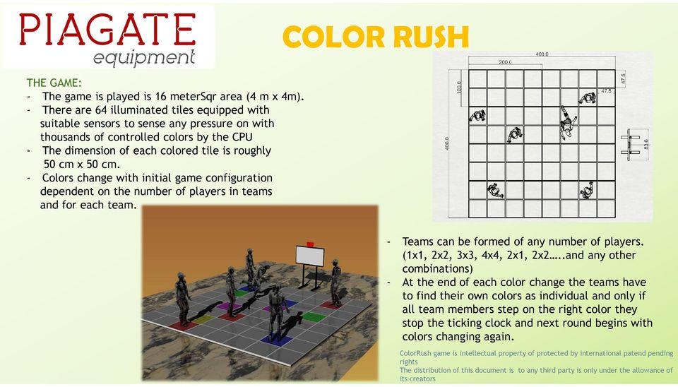 - Colors change with initial game configuration dependent on the number of players in teams and for each team. - Teams can be formed of any number of players. (1x1, 2x2, 3x3, 4x4, 2x1, 2x2.