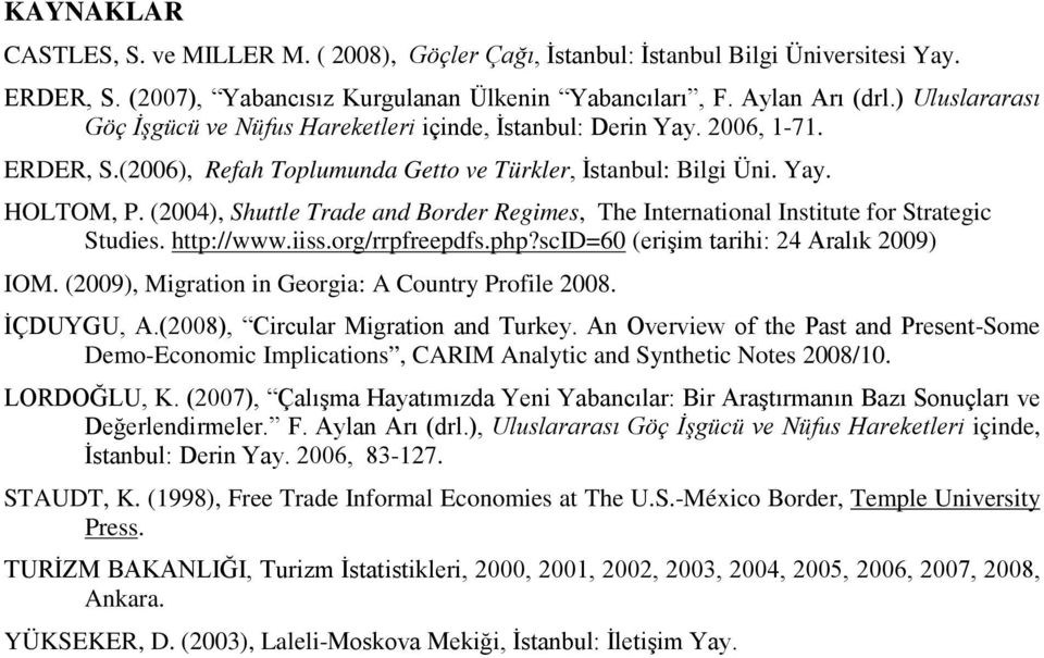 (2004), Shuttle Trade and Border Regimes, The International Institute for Strategic Studies. http://www.iiss.org/rrpfreepdfs.php?scid=60 (erişim tarihi: 24 Aralık 2009) IOM.