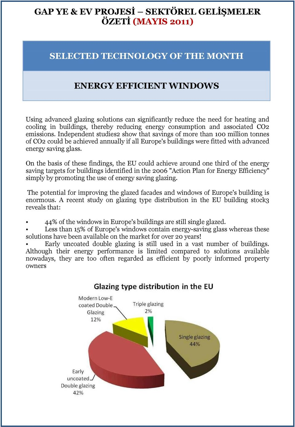 Independent studies2 show that savings of more than 100 million tonnes of CO2 could be achieved annually if all Europe's buildings were fitted with advanced energy saving glass.