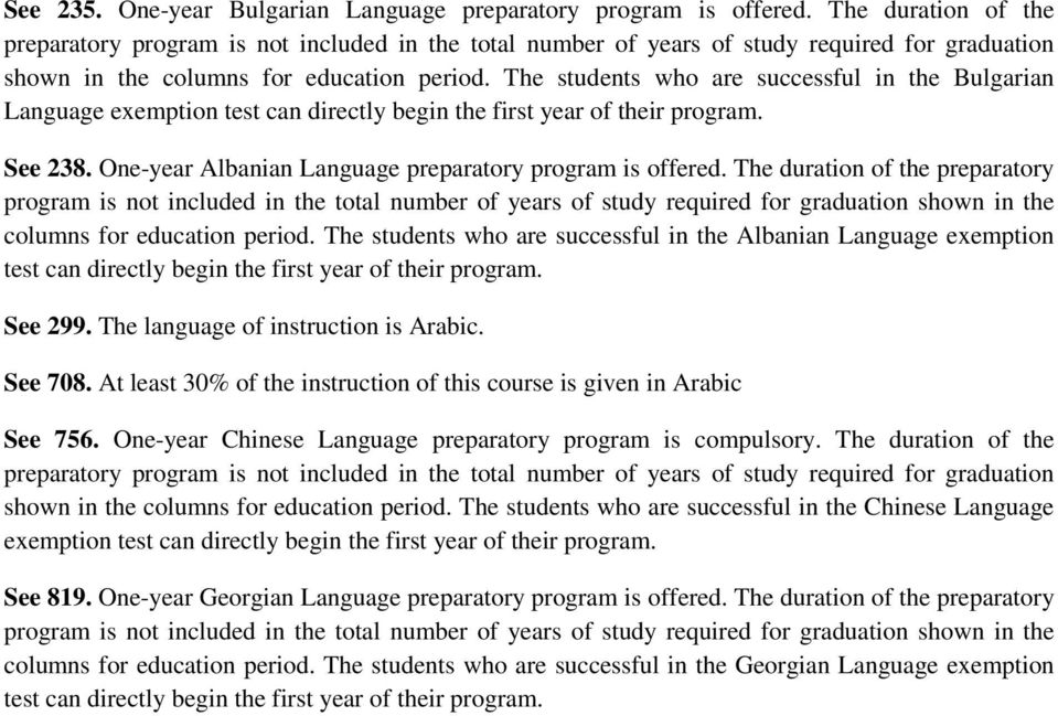 The students who are successful in the Albanian Language exemption See 299. The language of instruction is Arabic. See 708. At least 30% of the instruction of this course is given in Arabic See 756.