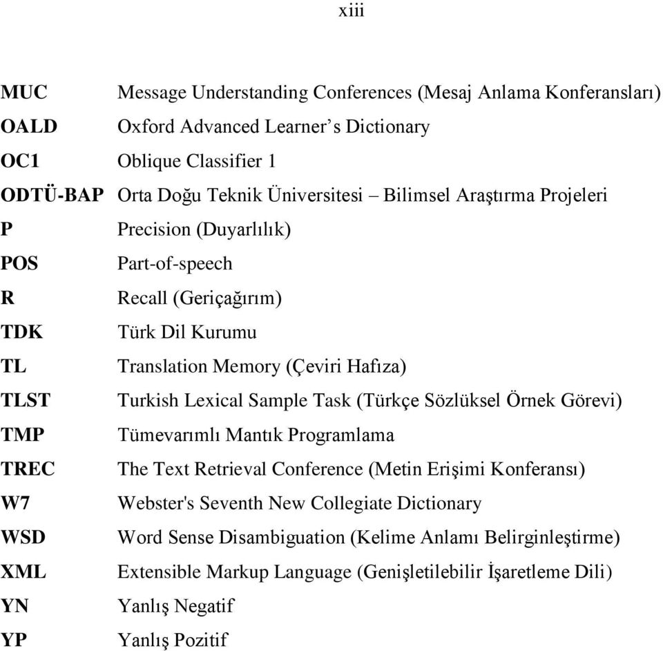 Turkish Lexical Sample Task (Türkçe Sözlüksel Örnek Görevi) TMP Tümevarımlı Mantık Programlama TREC The Text Retrieval Conference (Metin Erişimi Konferansı) W7 Webster's