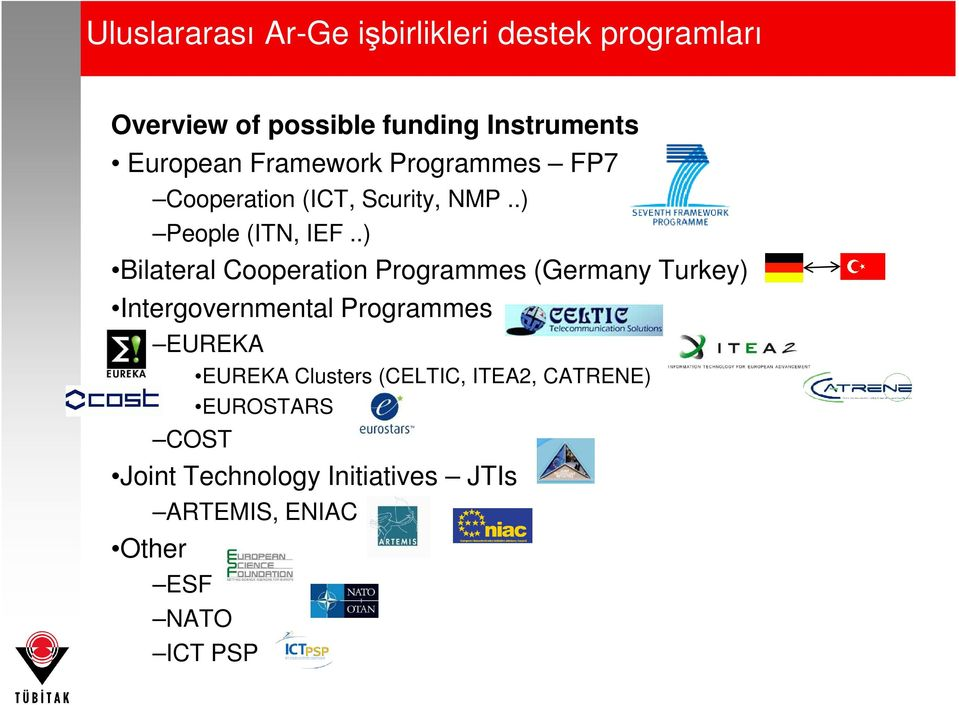 .) Bilateral Cooperation Programmes (Germany Turkey) Intergovernmental Programmes EUREKA EUREKA