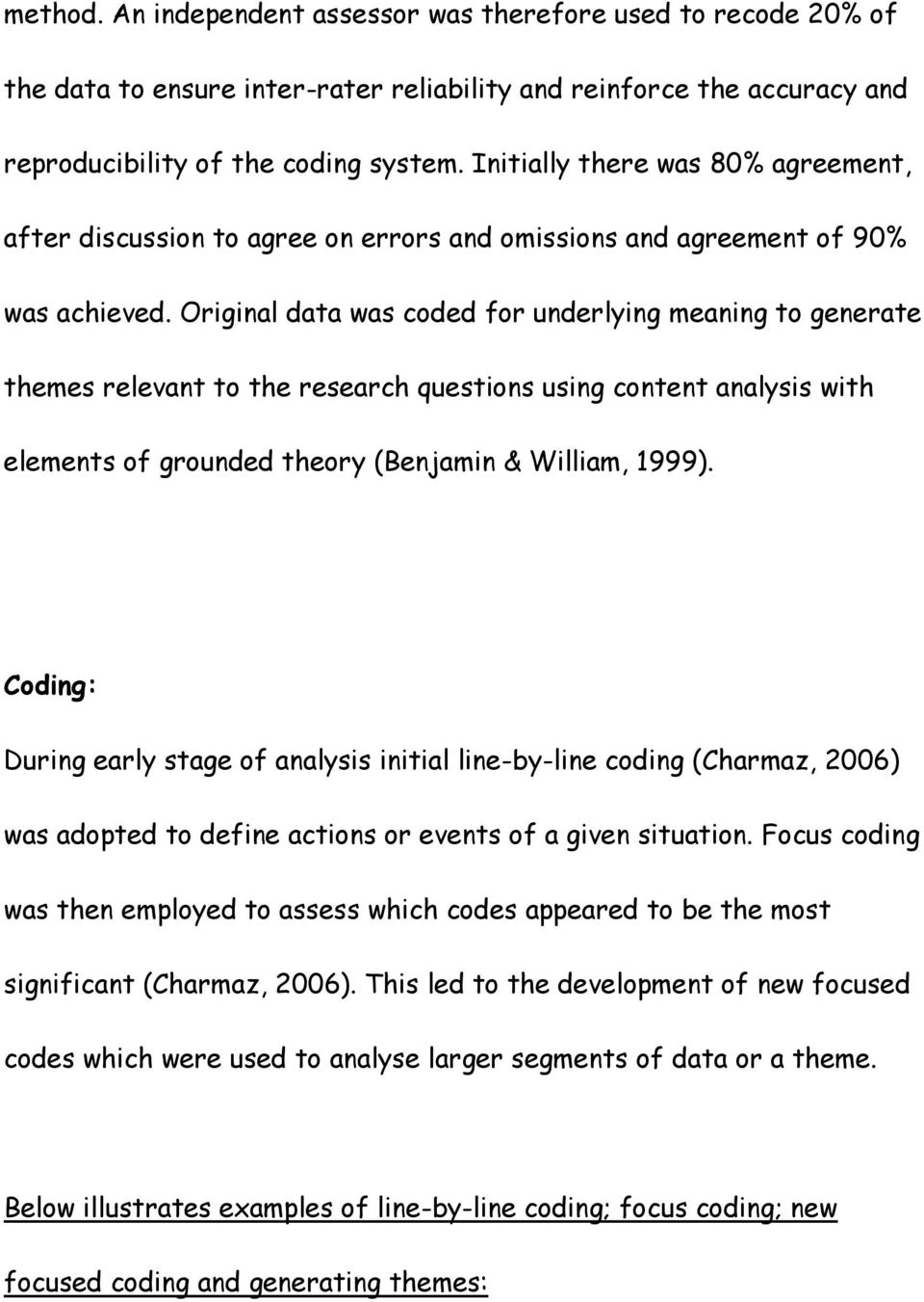 Original data was coded for underlying meaning to generate themes relevant to the research questions using content analysis with elements of grounded theory (Benjamin & William, 1999).