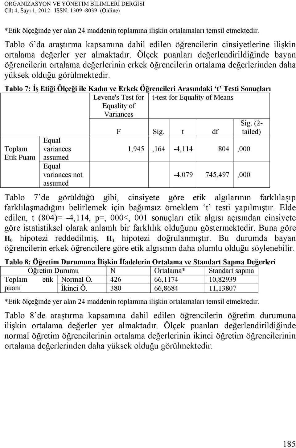 Tablo 7: İş Etiği Ölçeği ile Kadın ve Erkek Öğrencileri Arasındaki t Testi Sonuçları Levene's Test for t-test for Equality of Means Equality of Variances Toplam Etik Puanı Equal variances assumed