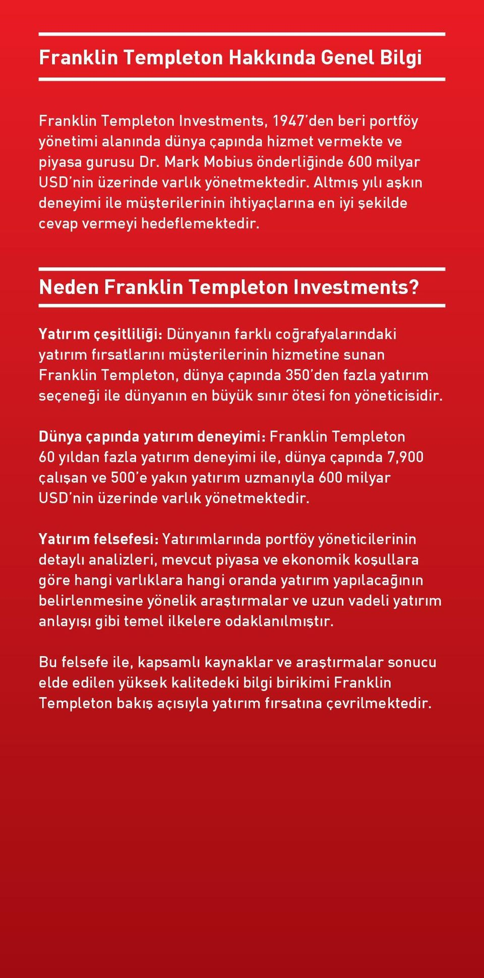 Neden Franklin Templeton Investments?
