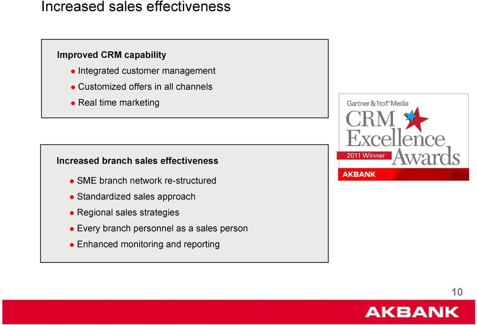 effectiveness SME branch network re-structured Standardized sales approach Regional