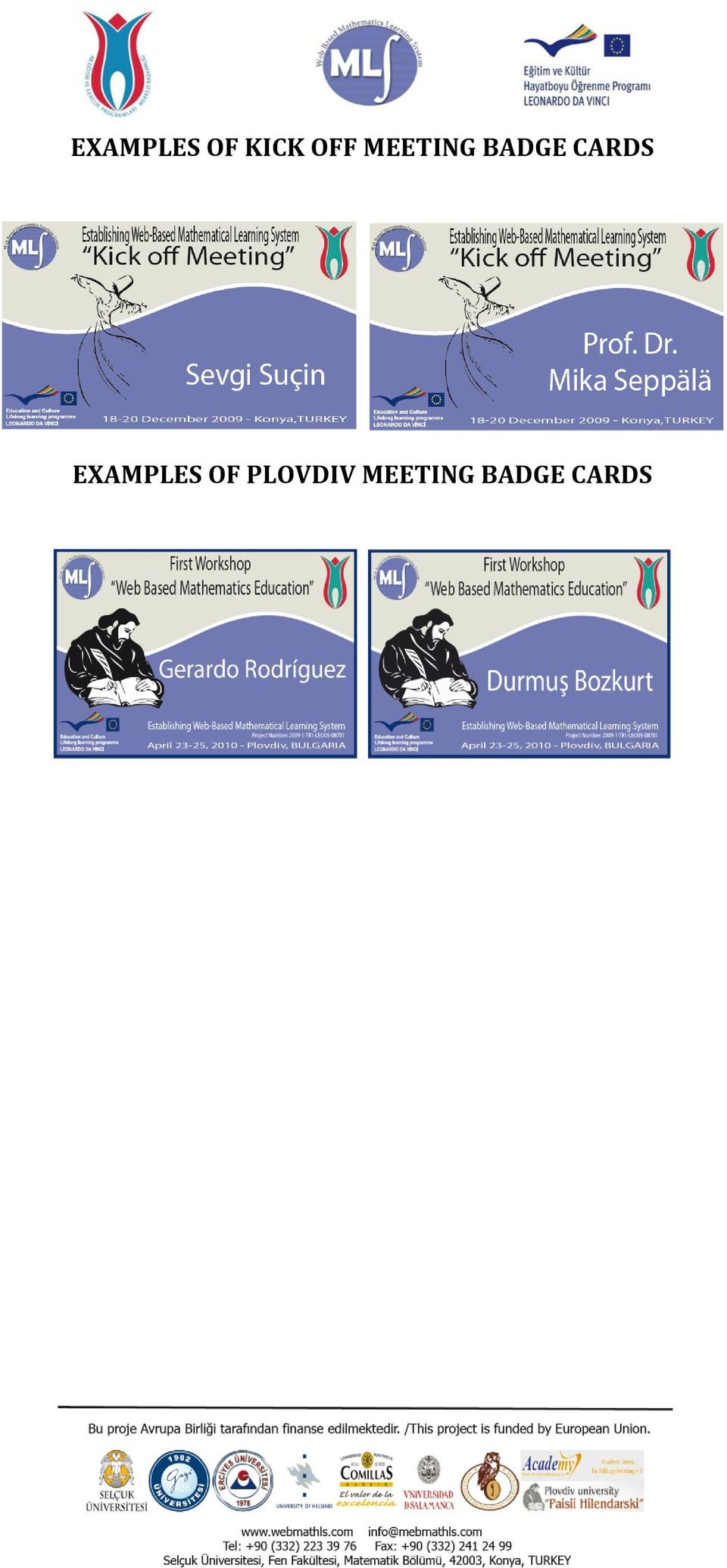 CARDS EXAMPLES OF