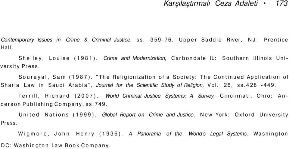 """The Religionization of a Society: The Continued Application of Sharia Law in Saudi Arabia"", Journal for the Scientific Study of Religion, Vol. 26, ss.428-449. Terrill, Richard (2007)."