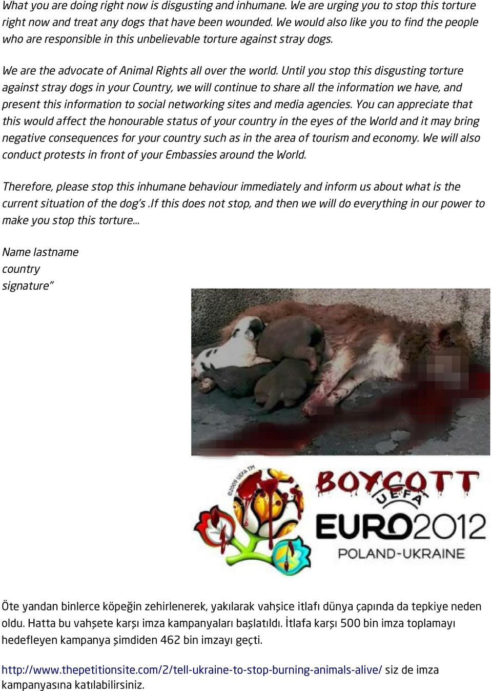 Until you stop this disgusting torture against stray dogs in your Country, we will continue to share all the information we have, and present this information to social networking sites and media
