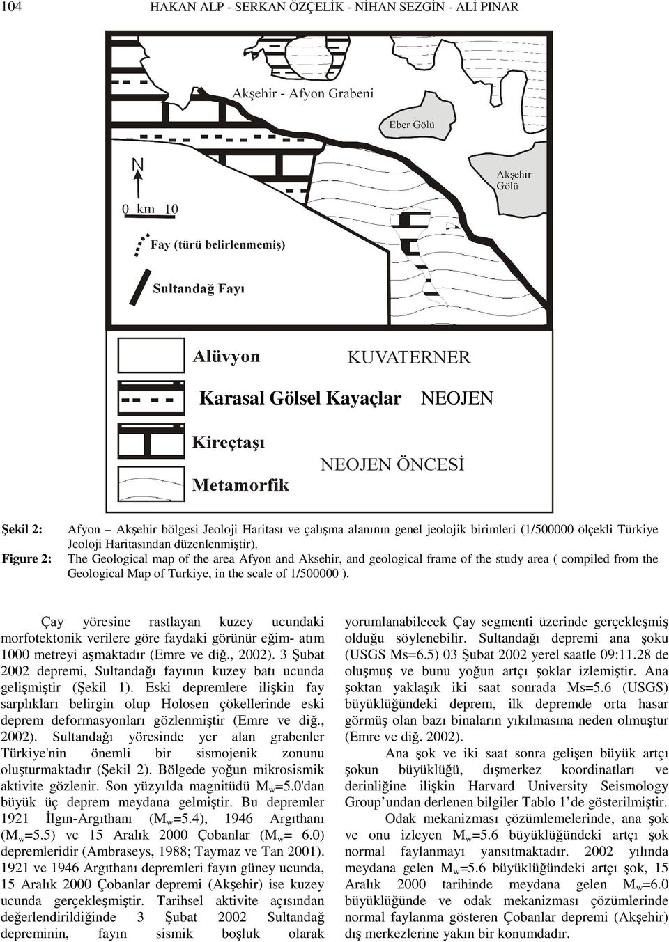 The Geological map of the area Afyon and Aksehir, and geological frame of the study area ( compiled from the Geological Map of Turkiye, in the scale of 1/500000 ).