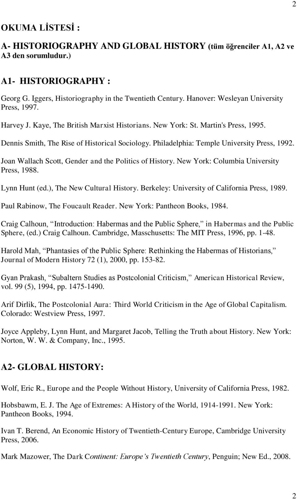 Philadelphia: Temple University Press, 1992. Joan Wallach Scott, Gender and the Politics of History. New York: Columbia University Press, 1988. Lynn Hunt (ed.), The New Cultural History.
