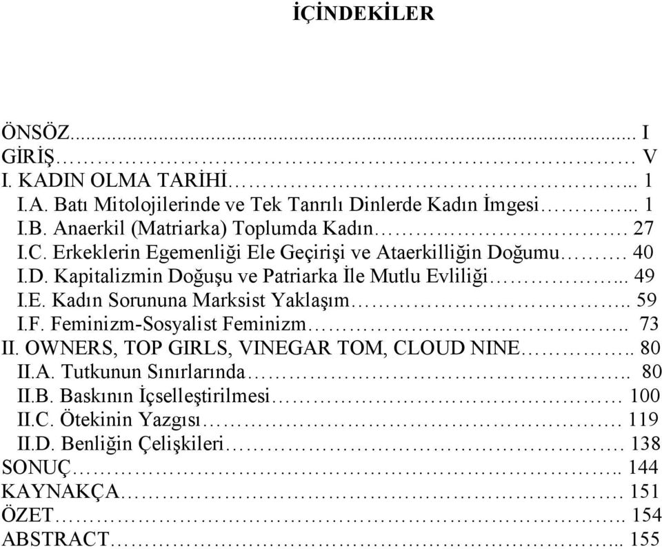. 59 I.F. Feminizm-Sosyalist Feminizm.. 73 II. OWNERS, TOP GIRLS, VINEGAR TOM, CLOUD NINE.. 80 II.A. Tutkunun Sınırlarında.. 80 II.B.