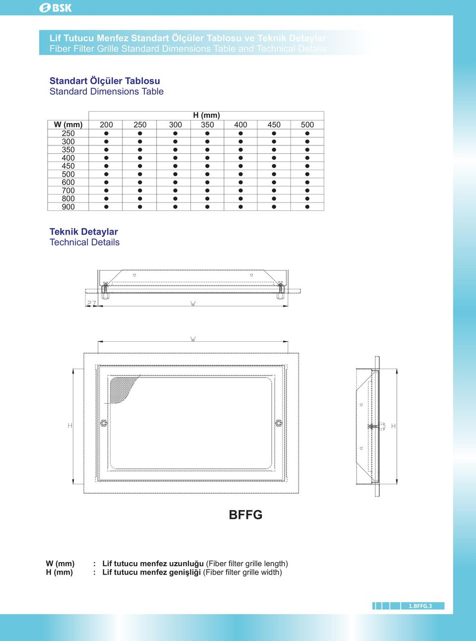 700 800 900 H (mm) 00 50 300 350 400 450 500 Teknik Detaylar Technical Details BFFG W (mm) H (mm) : Lif
