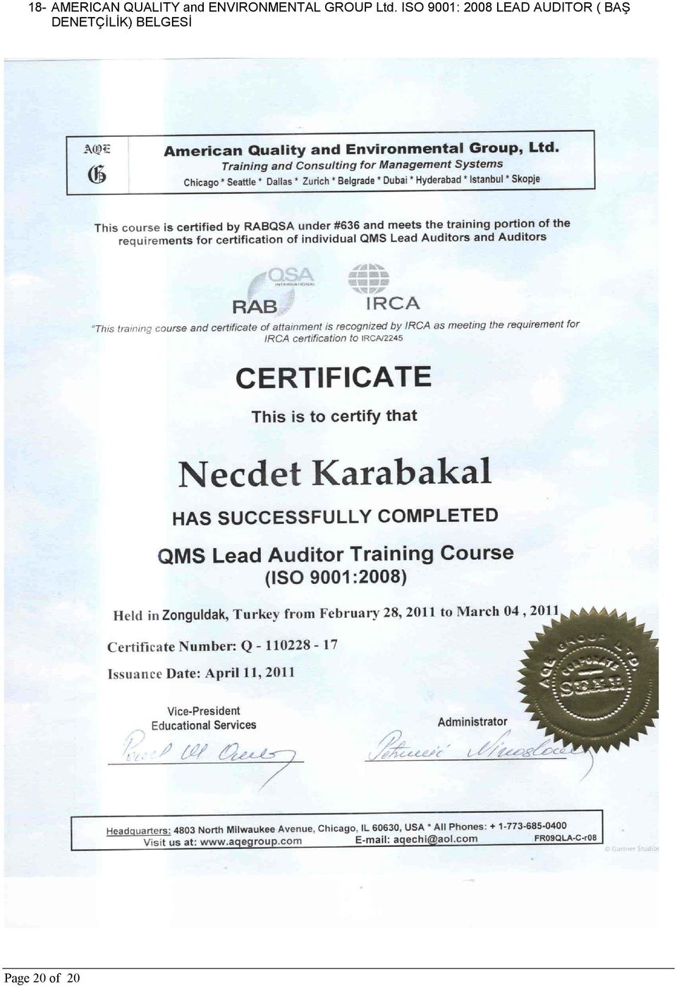 ISO 9001: 2008 LEAD AUDITOR (