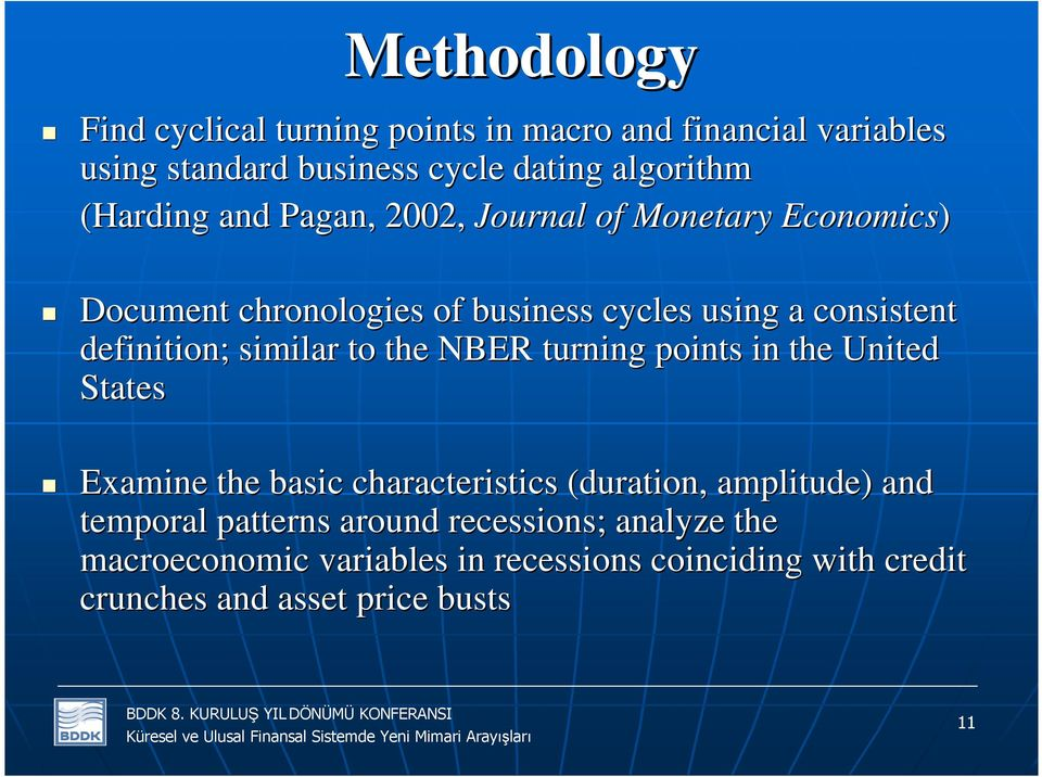 definition; similar to the NBER turning points in the United States Examine the basic characteristics (duration, amplitude) and