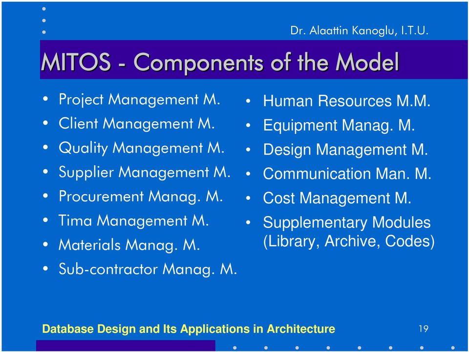 M. Human Resources M.M. Equipment Manag. M. Design Management M. Communication Man. M. Cost Management M.