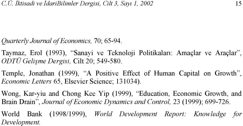 Temple, Jonathan (1999), A Positive Effect of Human Capital on Growth, Economic Letters 65, Elsevier Science; 131034).