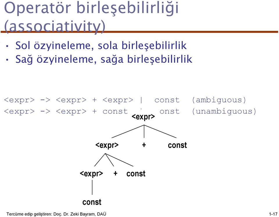 <expr> const (ambiguous) <expr> -> <expr> + const const <expr>