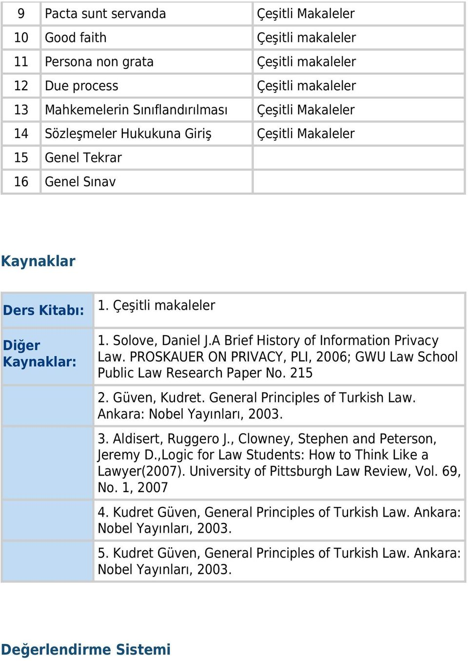 PROSKAUER ON PRIVACY, PLI, 2006; GWU Law School Public Law Research Paper No. 215 2. Güven, Kudret. General Principles of Turkish Law. Ankara: Nobel Yayınları, 2003. 3. Aldisert, Ruggero J.