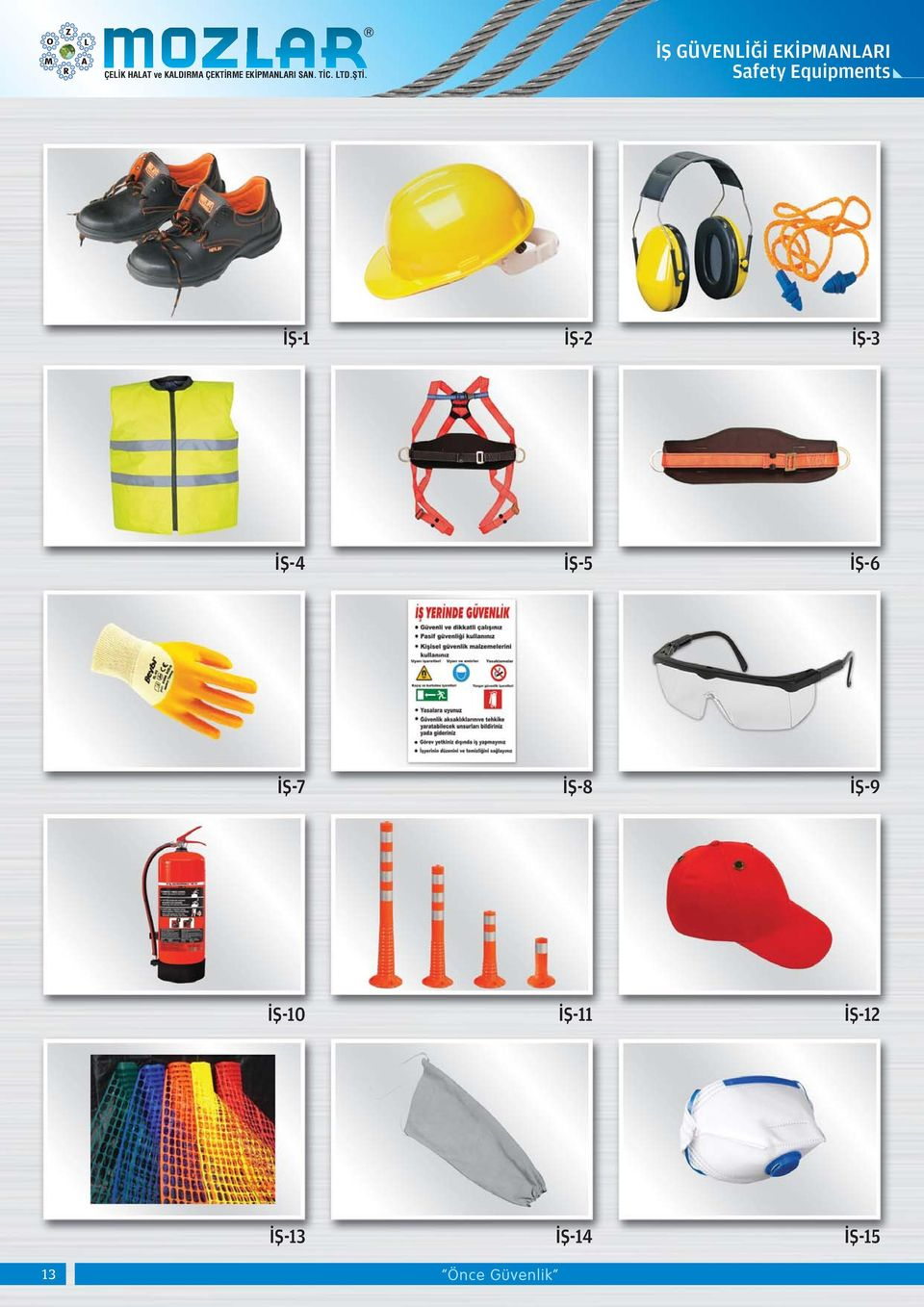 ÝÞ GÜVENLÝÐÝ EKÝPMANLARI Safety Equipments ÝÞ-1