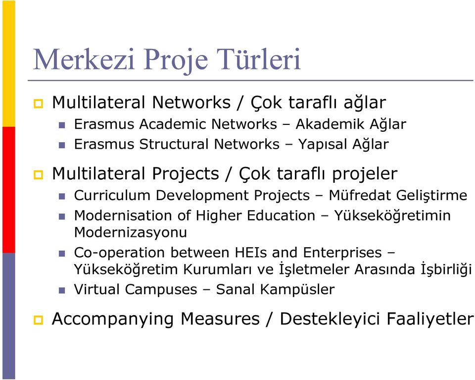 Geliştirme Modernisation of Higher Education Yükseköğretimin Modernizasyonu Co-operation between HEIs and Enterprises