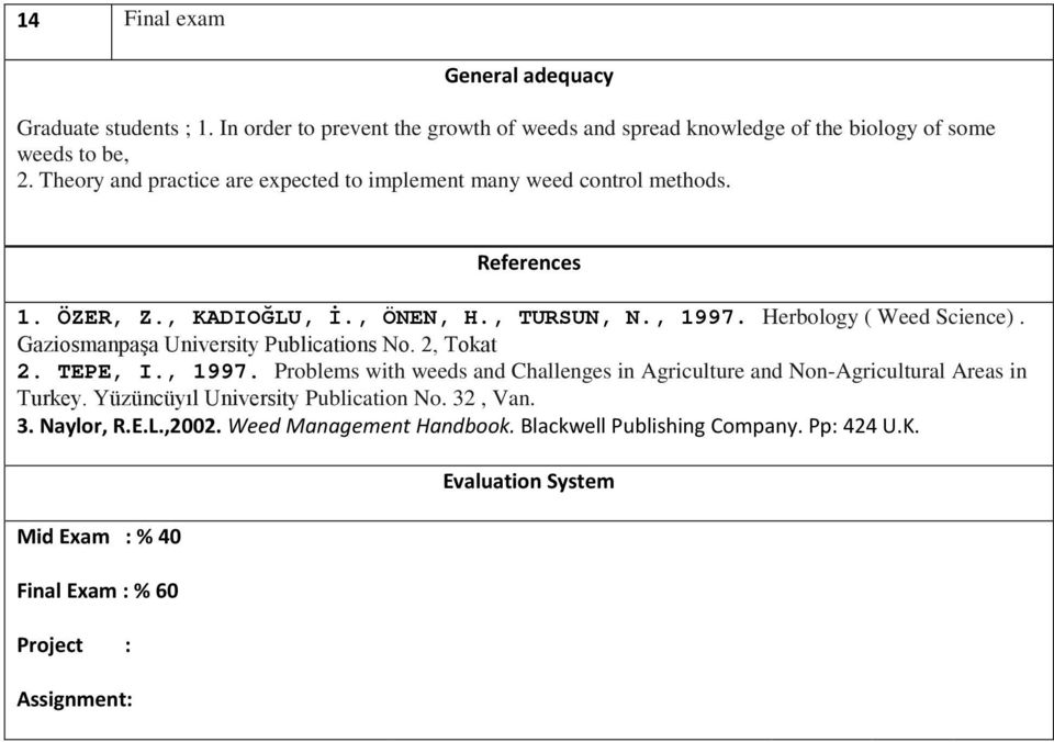 Gaziosmanpaşa University Publications No. 2, Tokat 2. TEPE, I., 1997. Problems with weeds and Challenges in Agriculture and Non-Agricultural Areas in Turkey.