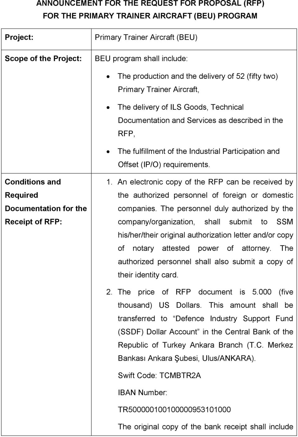 and Offset (IP/O) requirements. Conditions and Required Documentation for the Receipt of RFP: 1.
