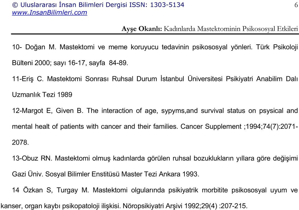The interaction of age, sypyms,and survival status on psysical and mental healt of patients with cancer and their families. Cancer Supplement ;1994;74(7):2071-2078. 13-Obuz RN.