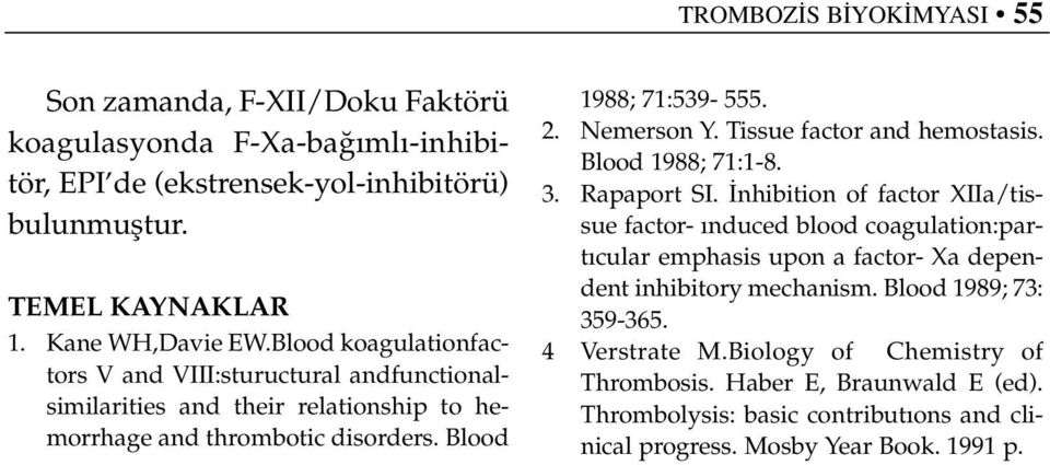 Tissue factor and hemostasis. Blood 1988; 71:1-8. 3. Rapaport SI.