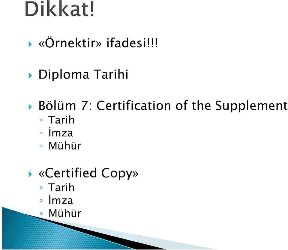 Certification of the Supplement