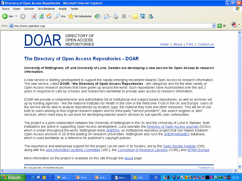 Directory of Open Access Repositories 41.