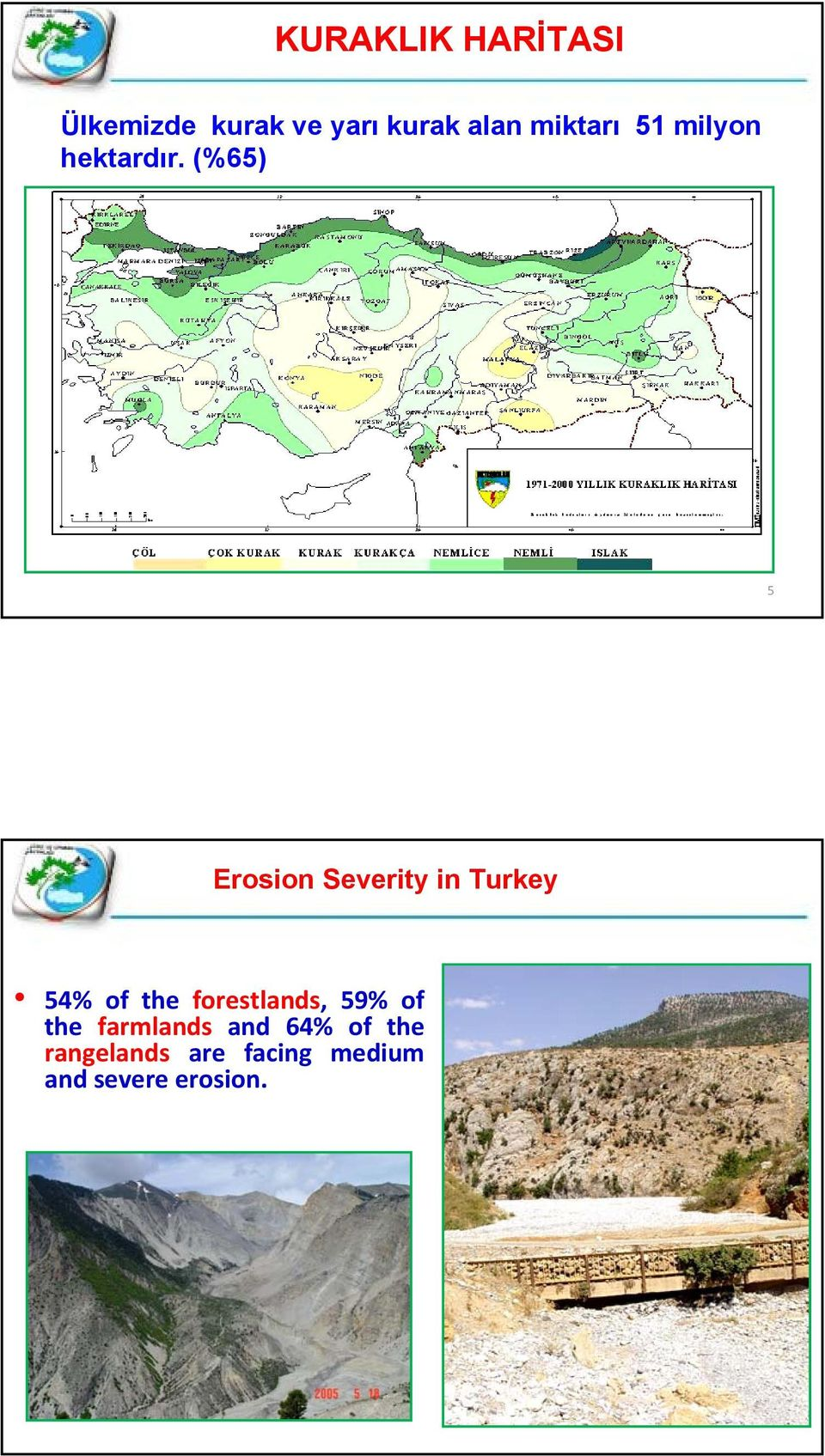 (%65) 5 Erosion Severity in Turkey 54% of the