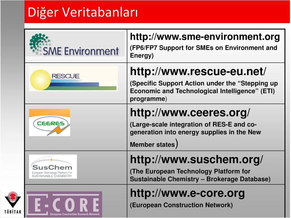 org/ (Large-scale integration of RES-E and cogeneration into energy supplies in the New Member states) http://www.suschem.