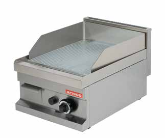 GG604 400x600x265 37 0,13 4800 Gas Smooth surface and natural gas heated. Stainless steel burner with piezo ignition, safety valve and thermocouple.