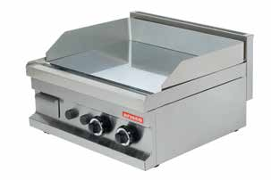 GG606 600x600x265 55 0,17 2x4800 Gas Smooth surface and natural gas heated. Stainless steel burners with piezo ignition, safety valve and thermocouple.