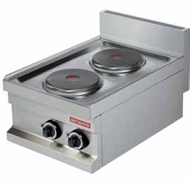 EC604 400x600x265 15 0,10 2x2000 220 V, 50 Hz 474 COOKER Electric Control with selector switch 0-7 position Round plates are available.